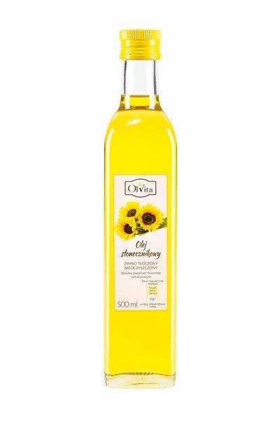 Olej słonecznikowy zimno tłoczony nieoczyszczony 500 ml (1)