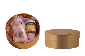 Zestaw upominkowy Relaks #2 - Sól do kąpieli z płatkami roży i świeczka naturalna z wosku pszczelego z kwiatem lawendy